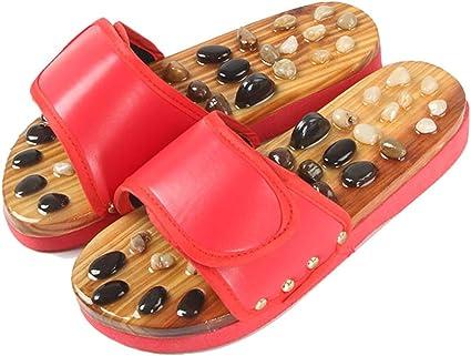 YLOVOW Masajeador de pies Zapatillas Arco Plantar Dolor Masaje Zapatos para Adultos Piedra de ágata Acupresión Zapato de Madera: Amazon.es: Deportes y aire libre