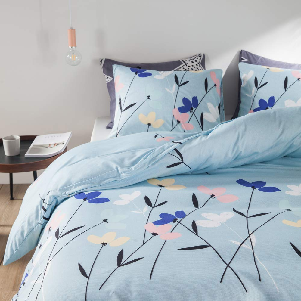 2pcs, Twin Size 66x90 Luofanfei Bedding Chic Multi Butterfly Twin Duvet Cover Set Pink Green Brown Blue Black Butterflies Prints Animal Watercolor Style Spring Insects Design Comforter Cover