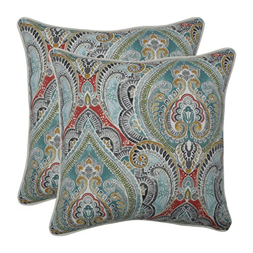 Pillow Perfect Outdoor | Indoor Pretty Witty Reef 18.5-inch Throw Pillow (Set of 2), Blue (Reef Furniture)