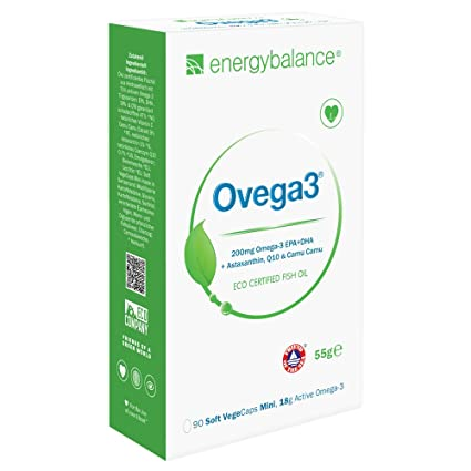 Ovega3 90 | Omega 3 cápsulas | con 3 antioxidantes naturales astaxantina, Q10, vitamina