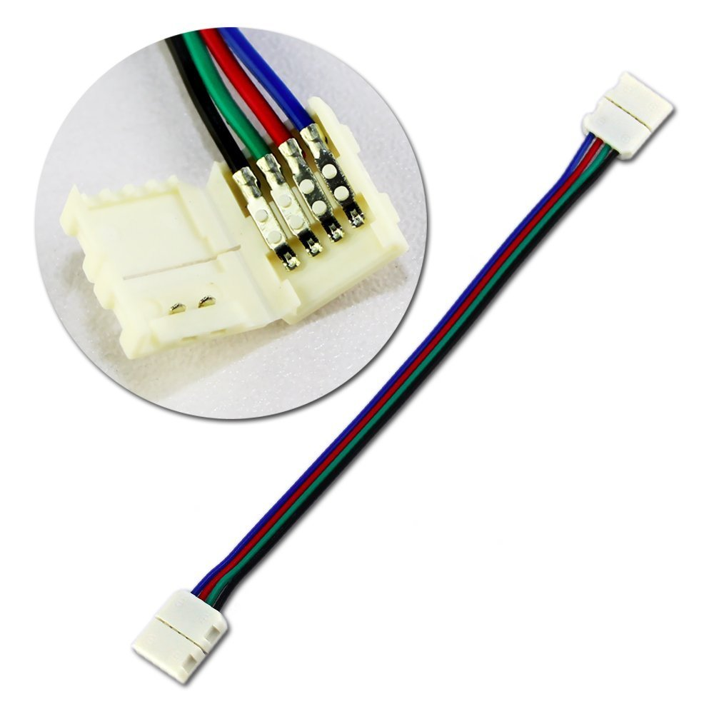 Rxment led strips connectors full kits strip to strip jumper l rxment led strips connectors full kits strip to strip jumper l shape corner connector rgb extension cable gapless connector strip to control box aloadofball Image collections
