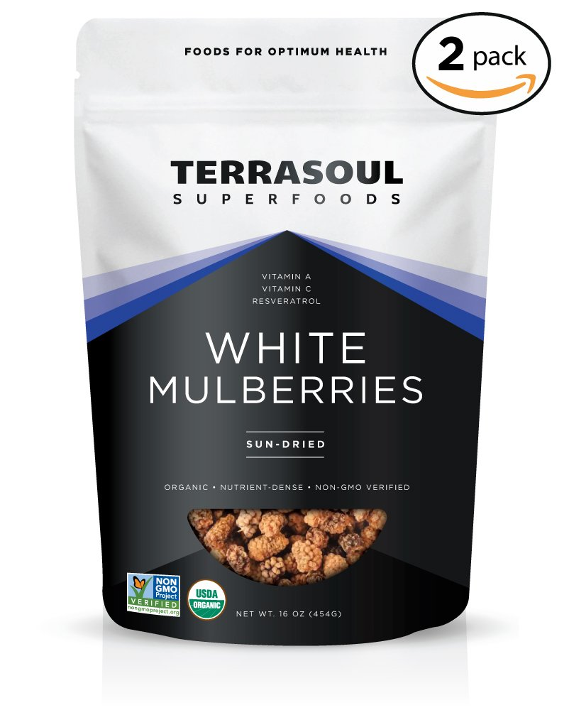 Terrasoul Superfoods Organic Sun-dried White Mulberries, 2 Pounds
