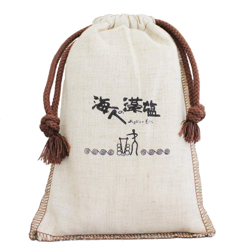 Amabito no Moshio 300g (in cloth bag) with YUMERIA Original Storage Container and Spoon Set, Hondawara, Seaweed Salt, Made in Japan (300g)