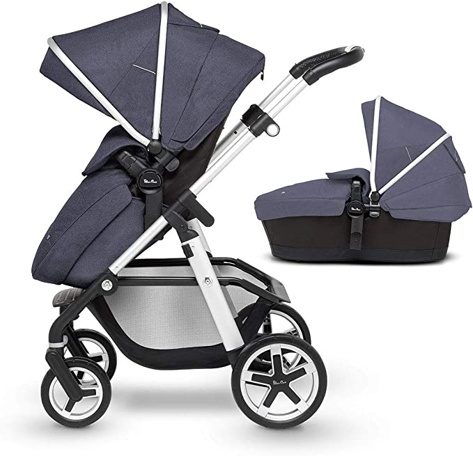 Silver Cross Pioneer Satin Silver Chassis, Seat Unit and Carrycot