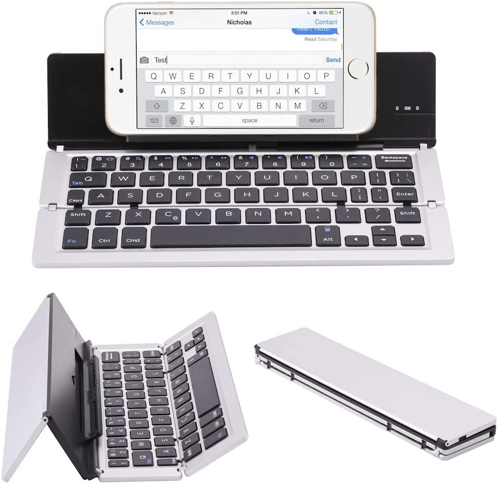 Samsung Android Tablet Smart Phone,spacegray Portable Aluminum Folding Bluetooth Keyboard Foldable Compatible with iPhone Xs max//x//8//7 Plus//7iPad 2018 9.7//Air 2 //Pro 9.7//iPad Mini 4