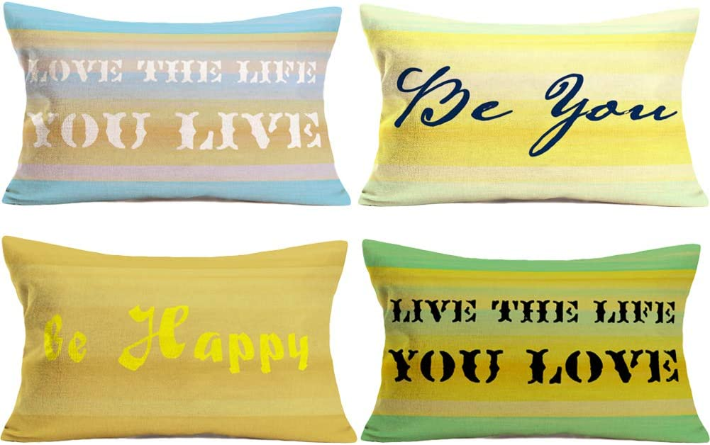 Doitely Set of 4 Inspirational Quote Love The Life You Live/Live The Life You Love/Be You/Be Happy Decorative Lumbar Home Throw Pillow Cover Case Cushion Cover Cotton Linen Rectangular 12 x 20 Inches