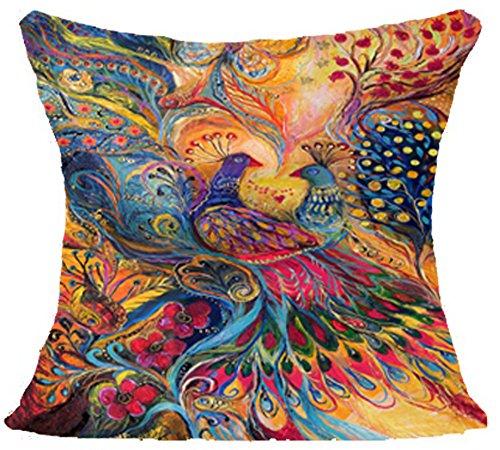 Oil Painting Hundreds of Birds Cotton Linen Throw Pillow Case Cushion Cover Home Sofa Decorative 18 X 18 Inch(3) (Deer) - Art Deco Sofa