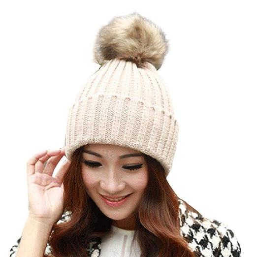 eae28c9b966 HGWXX7 Women Hat Winter Warm Crochet Knitted Wool Beanies Cap with Faux Fur  Pompom(One Size
