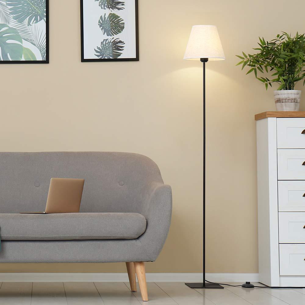 HAITRAL Black Floor Lamp - Modern Standing Light Lamp with Linen Shade, Tall Floor Light for Living Room, Bedroom, Den, Office - Metal Finish, Black