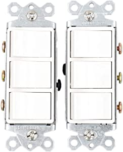 Baomain Triple three-function Rocker Switch Commercial Grade 15 Amp 120 Volt UL&CUL White 2 Pack