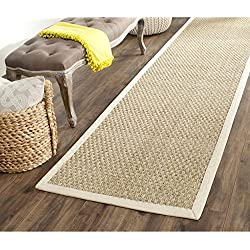 """Safavieh Natural Fiber Collection NF114J Basketweave Natural and Ivory Seagrass Runner (2'6"""" x 22')"""