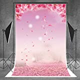 5X7ft (150cmX220cm) Pink Flowers Mother's day Photography Background Stage Decoration Floral Petal Birthday Photo Booth Backdrop