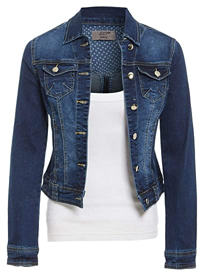 bbf20801723 Womens Size 14 16 18 20 Stretch Denim Jacket Ladies Indigo Jean Jackets Blue