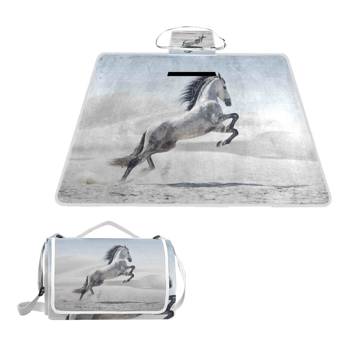 KVMV Silver Pony Horse Galloping Over Motion Majestic Wild Animal Power and Grace Theme Picnic Mat Sandproof and Waterproof Outdoor Picnic Blanket for Camping Hiking Beach Grass Travel by KVMV