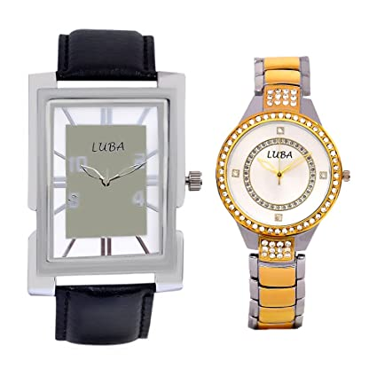 Combo of couple watches in Leather & Metal (Black and Golden)