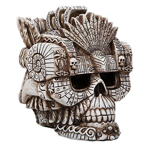 (Pacific Giftware Montezuma Aztec Ruler Skull Collectible Figurine Antique Skull Bone Finish 6 Inch L)