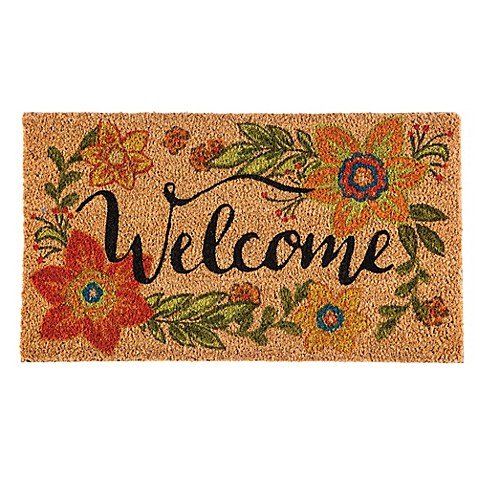 16-Inch x 28-Inch Welcome Door Mat Insert - Features Colorfast Dyes, Woven From Natural Coconut Fiber ()