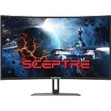 "Sceptre Curved 32"" Gaming Monitor Up to 240Hz 1ms AMD FreeSync Premium Build-in Speakers, HDMI Displayport Gunmetal 2021 (C32"