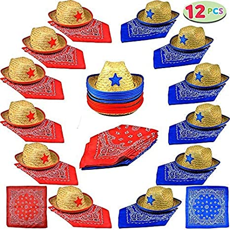 74d68d831dfa8 Amazon.com  Joyin Toy Pack of 12 Childs Straw Cowboy Hats with Cowboy  Bandannas (6 Red   6 Blue) Party Favors  Toys   Games