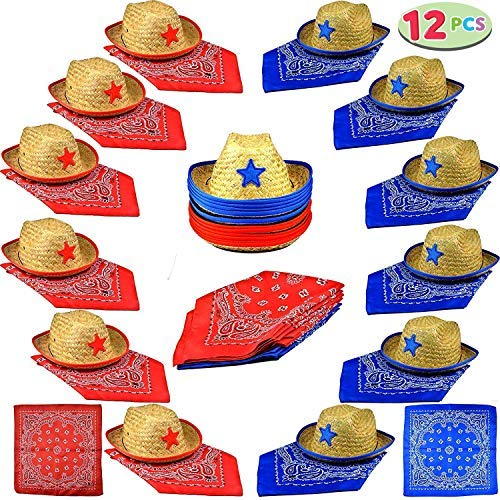 Joyin Toy Pack of 12 Childs Straw Cowboy Hats with Cowboy Bandannas (6 Red & 6 Blue) Party -