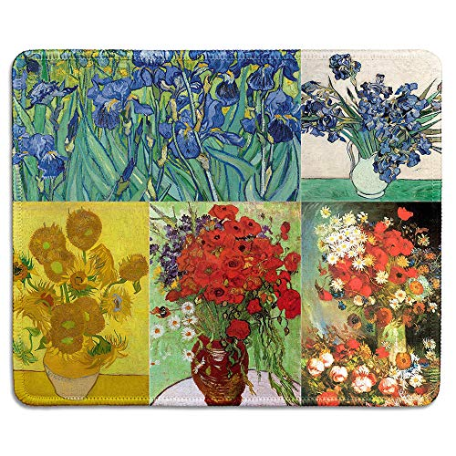 (dealzEpic - Art Mousepad - Natural Rubber Mouse Pad Printed with Vincent Van Gogh Paintings of Flowers Art Collage - Stitched Edges - 9.5x7.9 inches)