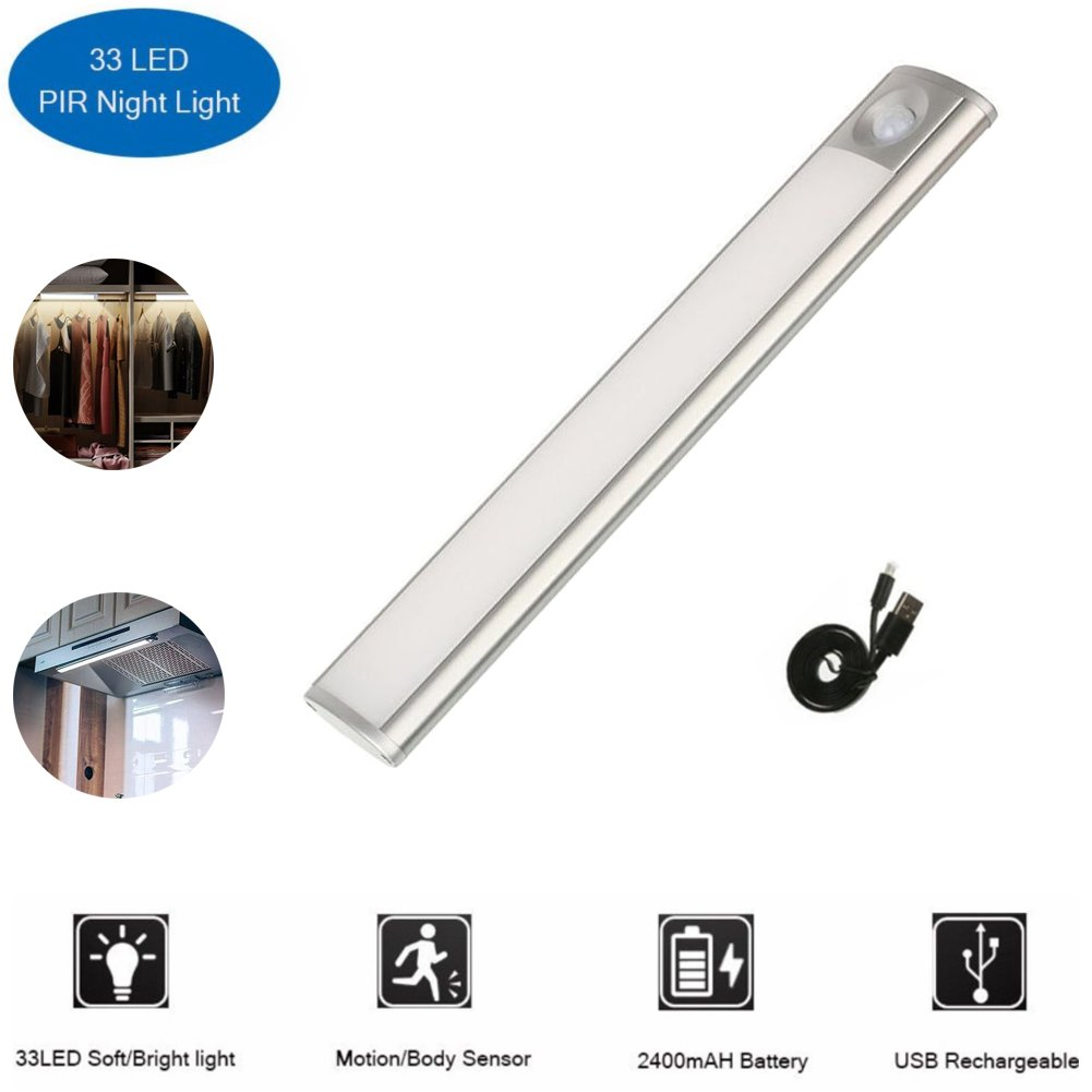 LED under cabinet light Wireless Luxury Aluminum Night Lighting with Rechargeable Motion Sensor Safe Lights for Kitchen Cabinet,Stairs, Wardrobe, 2 Sensor Mode (Only Motion, Motion & Light) (LED 33)