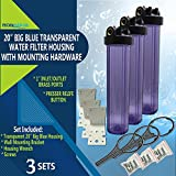 "20'' Big Blue Housing for Whole House Water Filtration System, 1"" Brass Port, Mounting Hardware Included! (3 Sets, Transparent)"