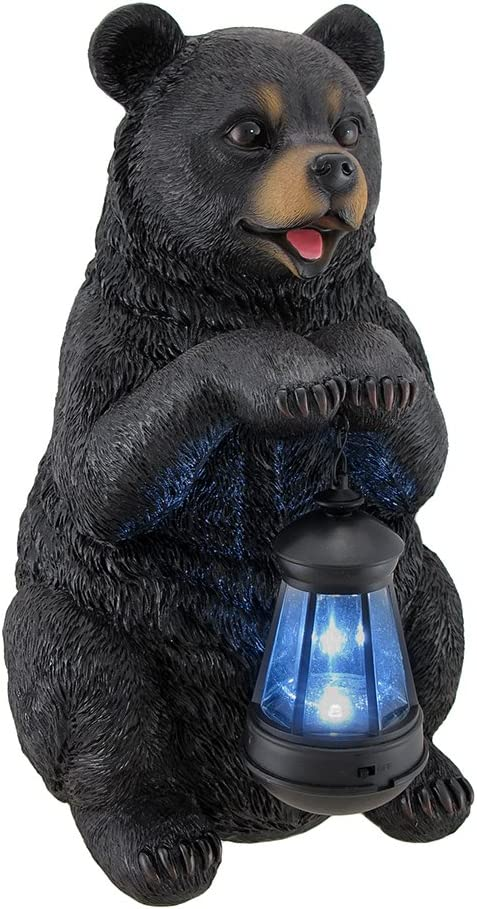 Beacon of Happiness Black Bear Statue and Solar LED Lantern