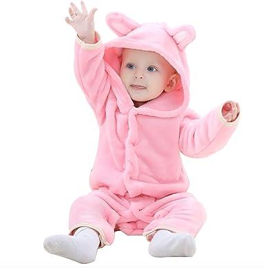 WSLCN Unisex Baby Toddlers Romper Jumpsuit Onesie Hooded Cartoon Pyjamas Sleepsuits