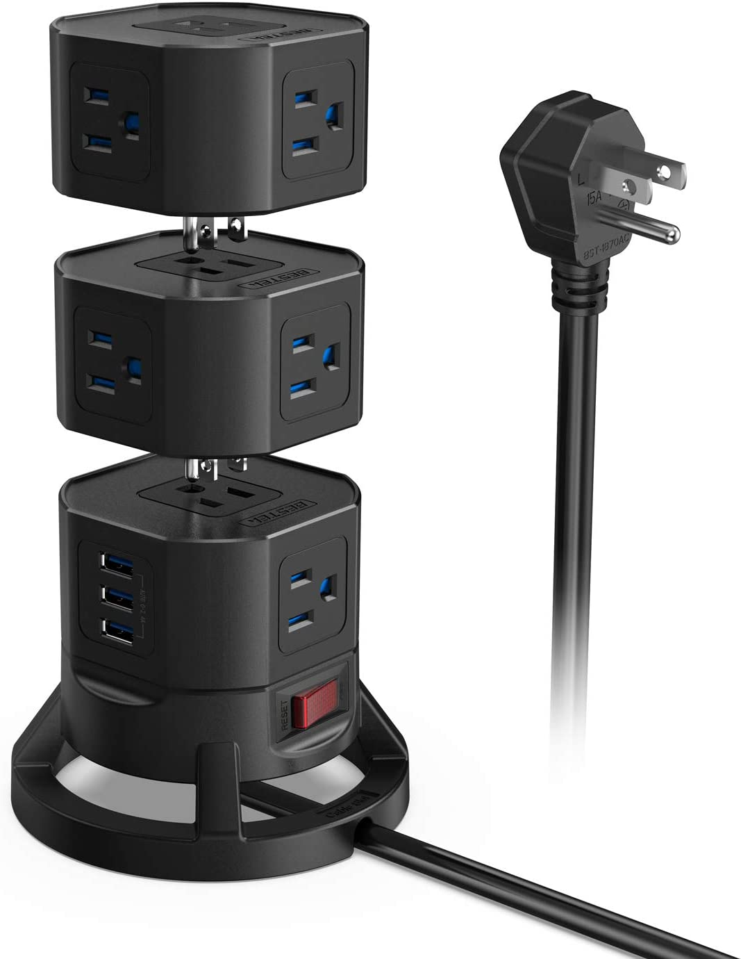 BESTEK 12 Outlets Power Strip Tower with 3 USB Ports Stackable Design Extend to 14 AC Outlets for PC Laptop Mobiles,6 Feet Extension Cord,Black