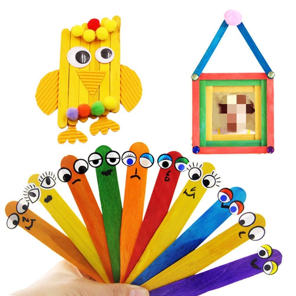 Ototon B/âtons en Bois B/âtons Glace Color/é B/âtonnets B/âtons de Glace D/écoration Accessoires pour Artisanat Bricolage 50pcs