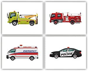 "Transportation Car Inspirational Quote Art Painting Set of 4 (8""X10"" Canvas Picture),Trucks Police Car Fire Truck Rescue Vehicles Wall Art Print Poster for Nursery or Boy Room Home Decor,No Frame"