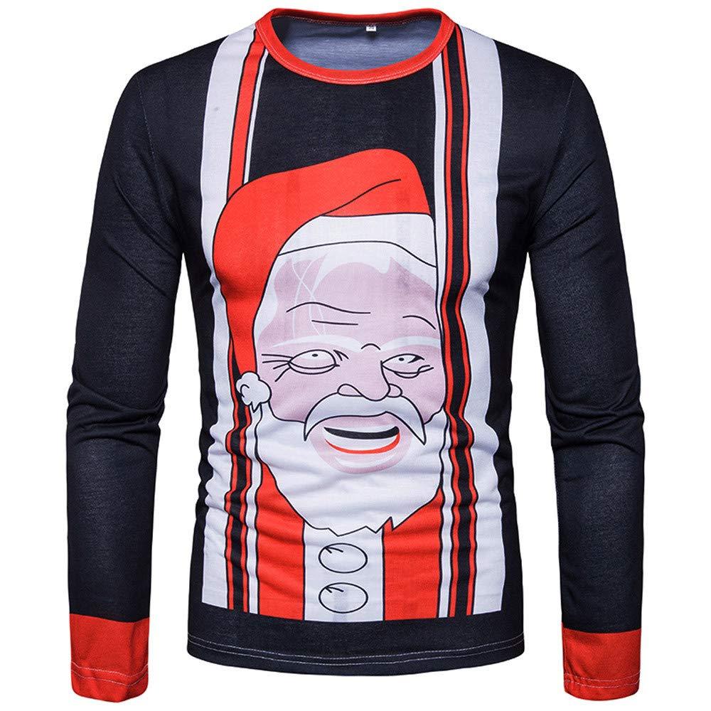 PASATO Classic Men Autumn Winter Xmas Christmas Printing Top Men's Long-sleeved T-shirt Blouse Clearance Sale(Multicolor, XL=US:L)