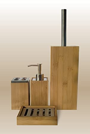 Natural Bamboo Wood 4 Piece Bathroom Accessory Set