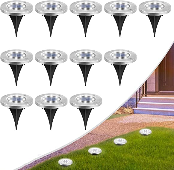 MOAOO Solar Ground Lights, 8 LED Solar Disk Lights Outdoor Waterproof In-Ground Lights for Garden Yard Patio Pathway Lawn Driveway Walkway Cold White, 12 Pack