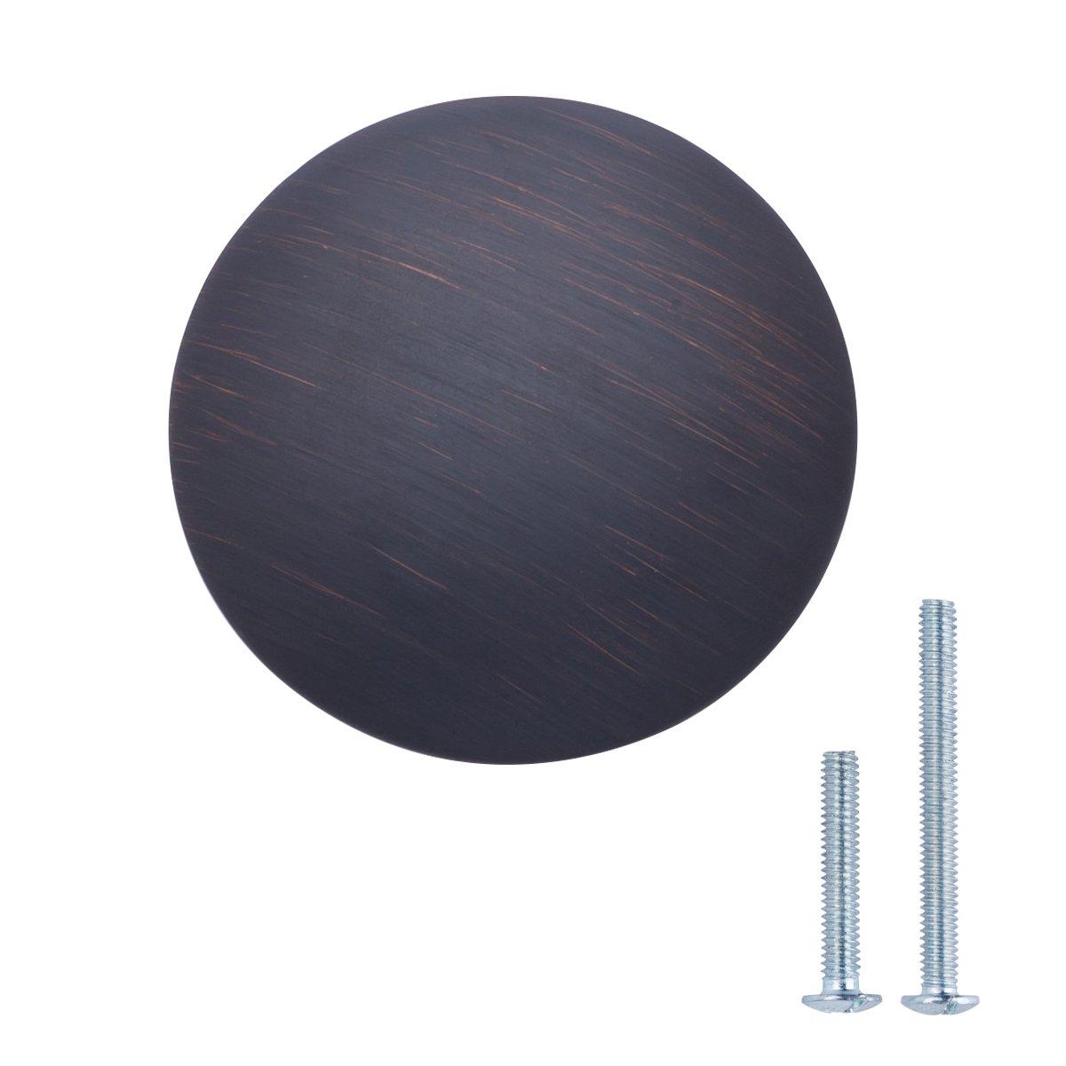 AmazonBasics Round Cabinet Knob, 1.18'' Diameter, Oil Rubbed Bronze, 10-Pack