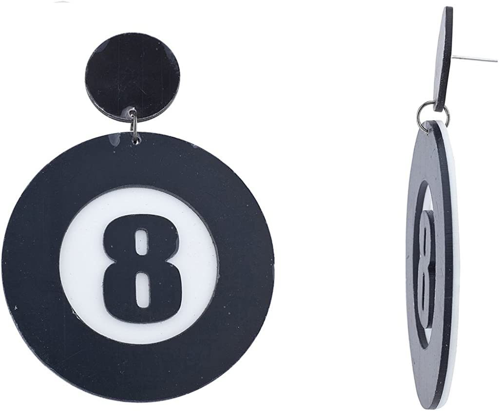Lux Accessories Halloween Black White Eight 8 Ball Pool Plastic Cosplay Party Costume Earrings