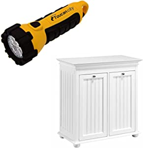 Toucan City LED Flashlight and Home Decorators Collection Hampton Harbor 26 in. W Double Tilt-Out Beadboard Hamper in White BF-24261-WH