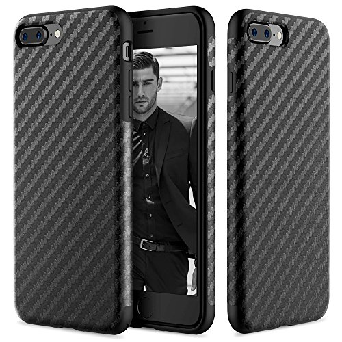 iPhone 7 Plus Case, ROCK [Carbon Fiber] - [Light Thin Cover] [Non Slip] [Bulit-in Magnetic Metal Plate] [Fingerprint Free] Case For Apple iPhone 7 Plus - Black
