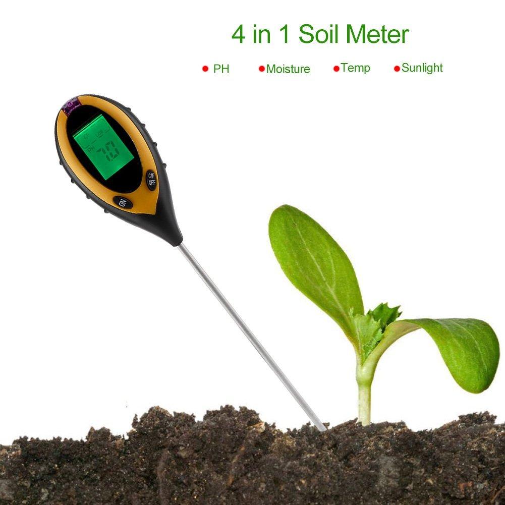 Delaman Soil Tester 4 In 1 LCD Moisture Sensor, Temperature, Sunlight, PH Tester, Garden Soil Meter