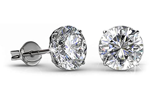 2e6e8a54b Jade Marie BOLD Silver Round Brilliant Cut Solitaire Stud Earrings, 18k  White Gold Plated Stud