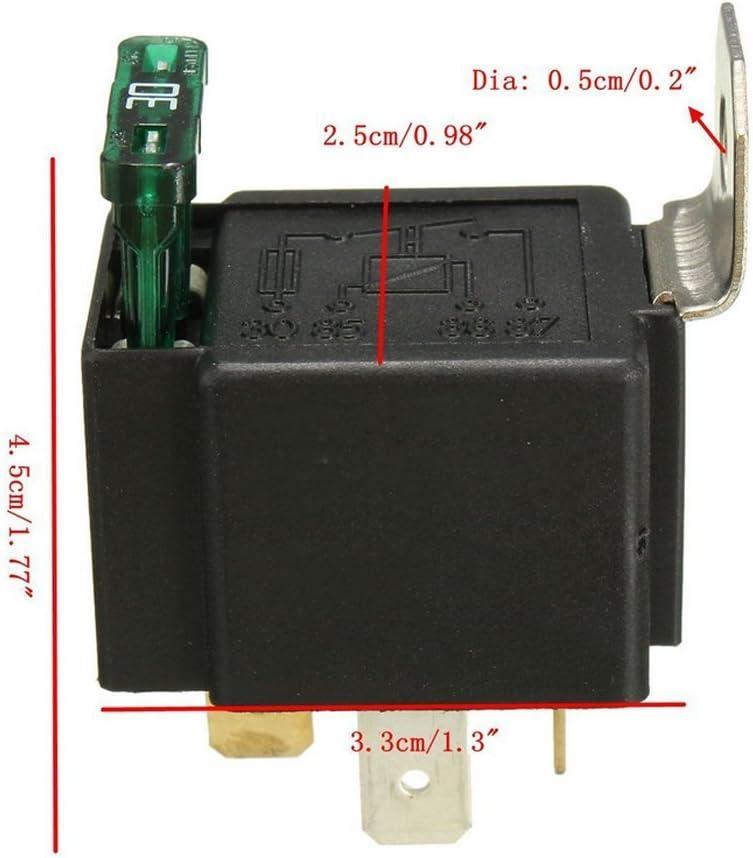 Off 12V 30A Automotive 4 pin Fuse montaggio Base Socket SPST metallo normalmente aperto Auto Motor Automobile Ehdis/® Relay Fused On confezione da 2