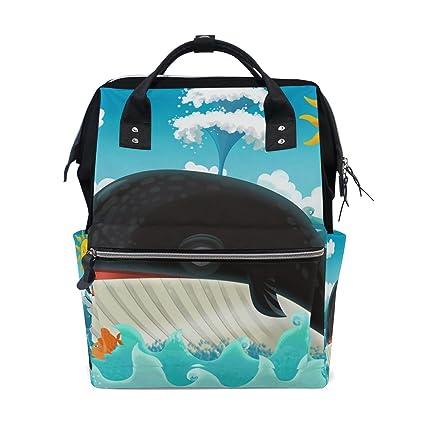 TIZORAX - Mochila para bebé con diseño de peces de tiburón y dibujos animados, gran