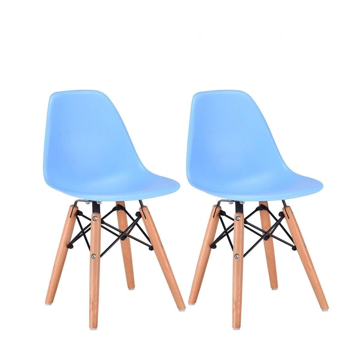 Costzon Set of 2 Kids Dining Chair, Modern Molded Shell Chair with Dowel Wood Eiffel Legs Blue