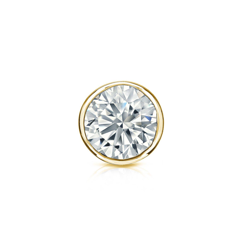 14k Yellow Gold Round Diamond Simulant CZ SINGLE STUD Earring Bezel-set(1/2cttw,Excellent Quality)