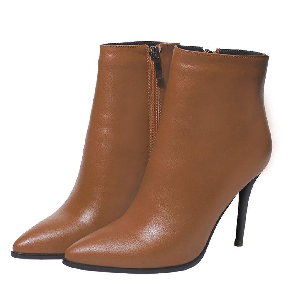 Damen Stiefel,MERUMOTE Leder Thin Heels Schuhe Spite for  2017 Winter Daily Wear  for Braun b0a0d8