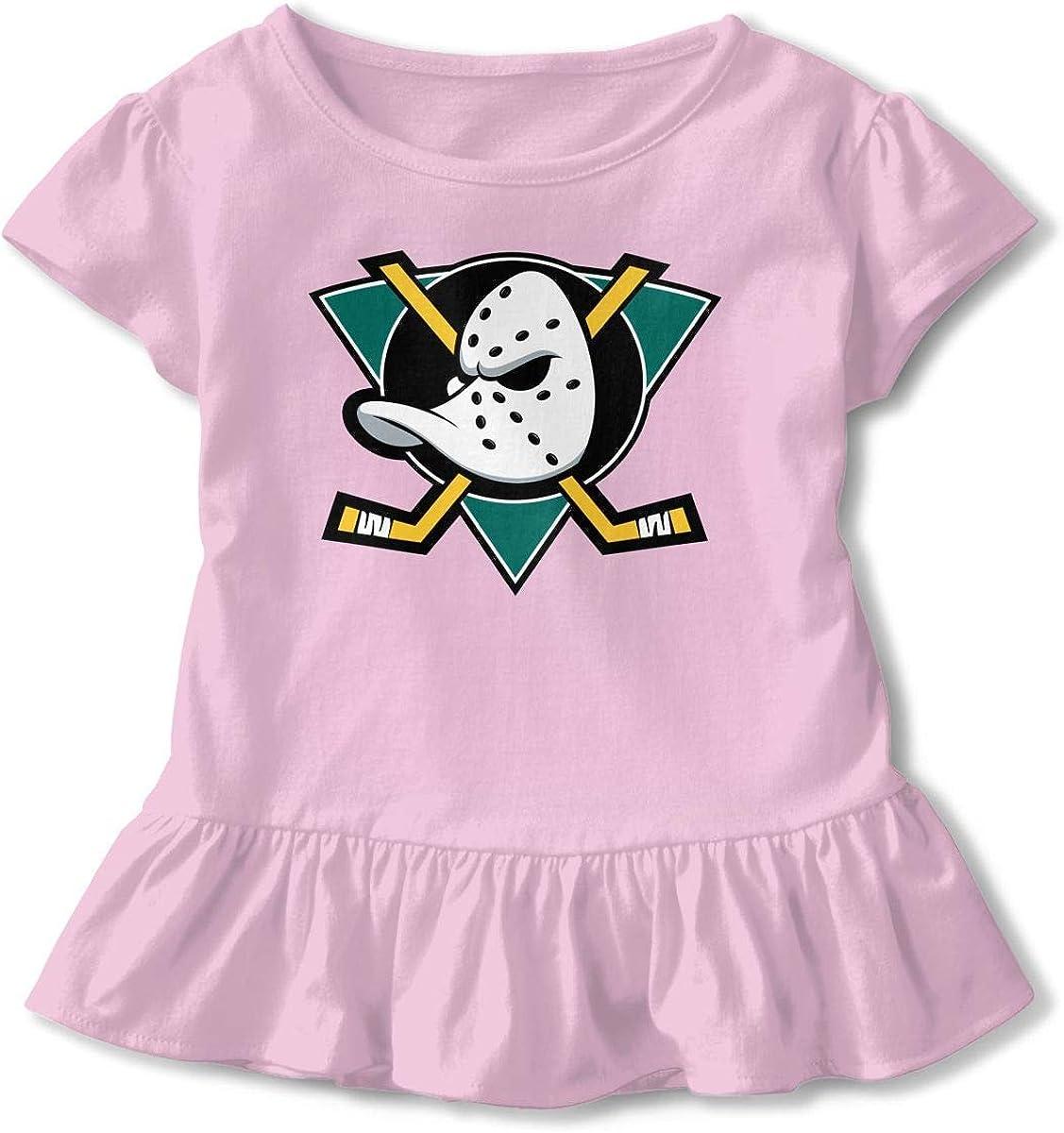 Mighty Ducks 3D Tee Baseball Ruffle Short Sleeve Cotton T Shirt Top for Girls Kids Pink4T