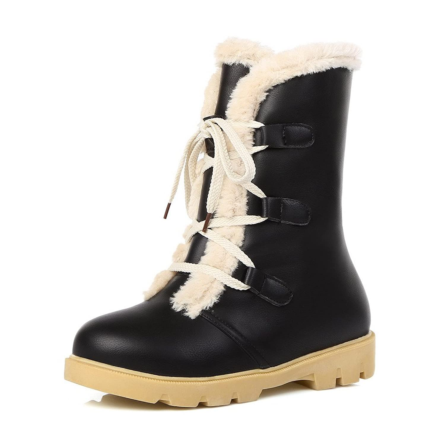 AmoonyFashion Women's Low-top Lace-up Soft Material Low Heels Round Closed Toe Boots