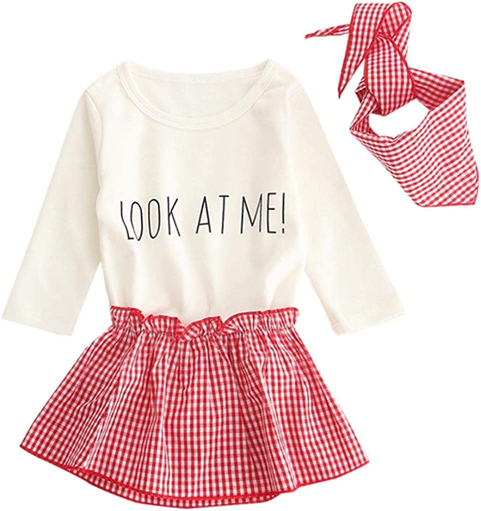 Waymine Infant Girl Long Sleeve Letter Plaid Romper+Skirt+Scarf Outfit Set 0-24M