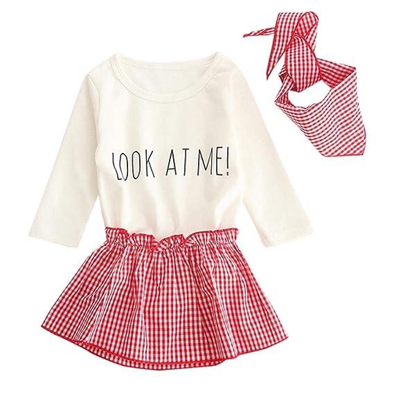 ... Vestido Cuadros Falda + Peleles Monos de Manga Larga Letras Impresión + Bufanda Bautizo para Bebé Niños Niñas 0~24 Meses: Amazon.es: Ropa y accesorios